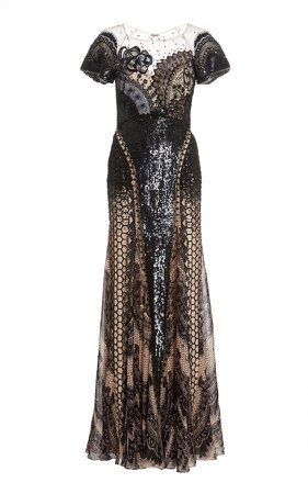 Temperley London Tigerlily Sequined Lace Gown