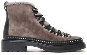 Compass Studded Shearling-trimmed Suede Ankle Boots