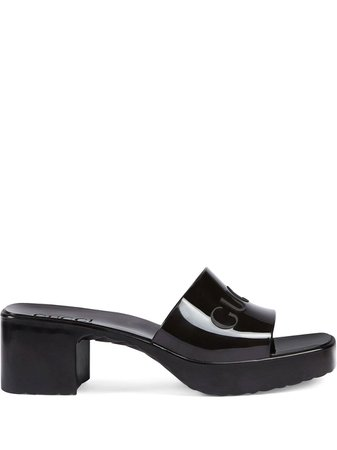 Shop black Gucci logo embossed sandals with Express Delivery - Farfetch