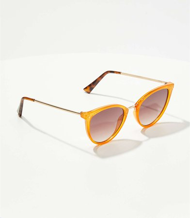 Metallic Trim Cateye Sunglasses | LOFT