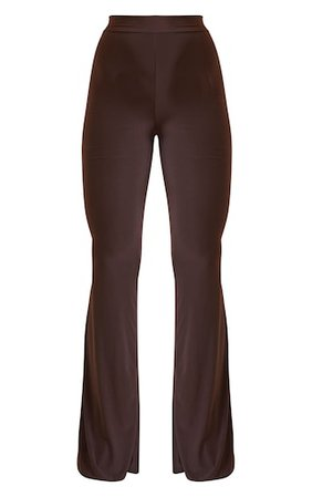 Chocolate Slinky Flared Trousers | Trousers | PrettyLittleThing USA
