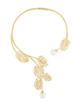 Ingie Paris leaf and pearl open necklace