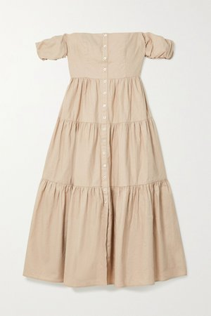 Beige Elio off-the-shoulder tiered linen-blend midi dress | STAUD | NET-A-PORTER