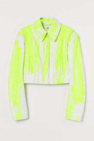 Short Leather Jacket - White