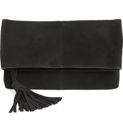 Leith Suede Clutch Black