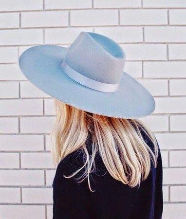 Blue Wide Brim Hat