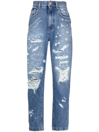 Shop blue Dolce & Gabbana ripped tapered jeans with Express Delivery - Farfetch