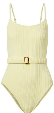 The Nina Belted Ribbed Swimsuit - Pastel yellow