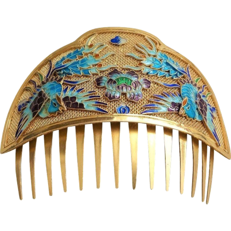Gold + Blue Hair Comb png