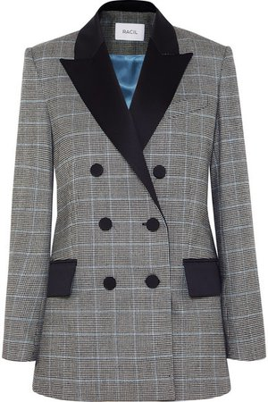 Racil   Audrey satin-trimmed houndstooth wool blazer   NET-A-PORTER.COM
