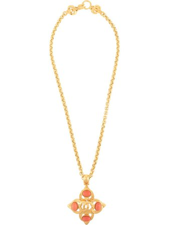 Shop gold Chanel Pre-Owned 1997 CC cross pendant necklace with Express Delivery - Farfetch