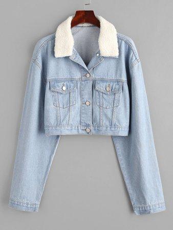 [25% OFF] [POPULAR] 2020 Drop Shoulder Teddy Faux Shearling Collar Denim Jacket In LIGHT BLUE | ZAFUL