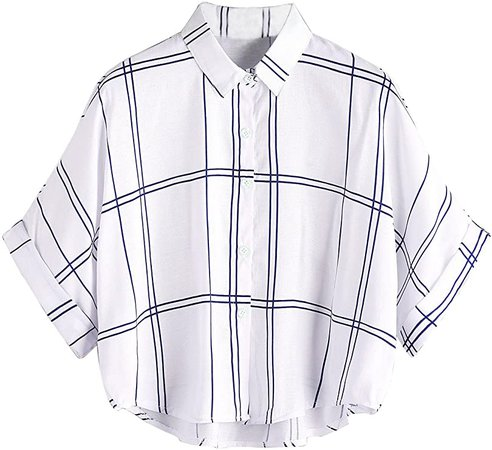 MakeMeChic Women's Collar Button Down Shirt Summer Knot Front Blouse at Amazon Women's Clothing store