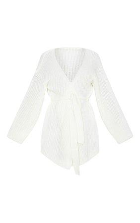 Ivory Chunky Knit Wrap Cardigan | Knitwear | PrettyLittleThing USA