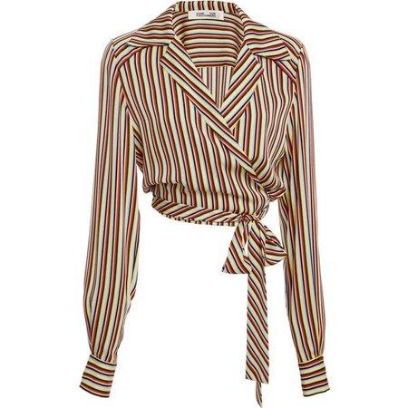 Diane von Furstenberg Long Sleeve Deep V Wrap Blouse ($300)
