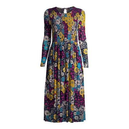 Scoop - Scoop Women's Smocked Maxi Dress with Long Sleeves - Walmart.com - Walmart.com