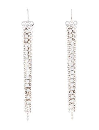 Earrings 18K Diamond Mesh Drop Earrings - Earrings - EARRI61689 | The RealReal