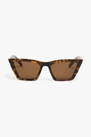 Square cat-eye sunglasses - Tortoise print - Sunglasses - Monki WW