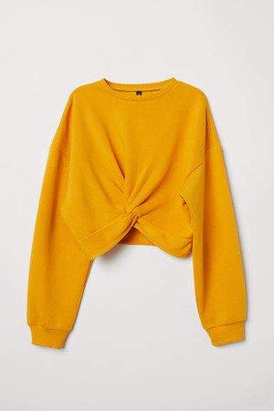 Tie-detail Sweatshirt - Yellow