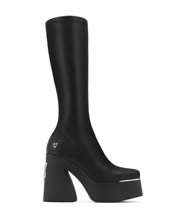 *clipped by @luci-her* Naked Wolfe Impact Black Leather Calf Boots