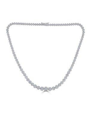 "64 Facets 18k White Gold Graduating Diamond Tennis Necklace, 16""L | Neiman Marcus"