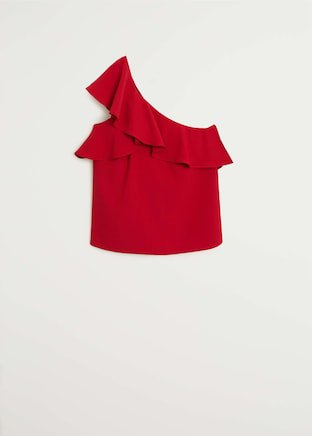 Asymmetric ruffled blouse - Woman   Mango Bulgaria