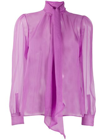 Shop purple Saint Laurent pussy-bow sheer silk blouse with Express Delivery - Farfetch