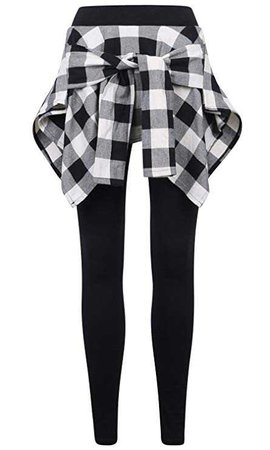 ililily Women Inset Tied Over Plaid Checkered Shirt Around Waist Skirt Leggings, Black/White, US-S: Amazon.co.uk: Clothing
