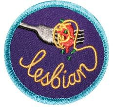 Spaghetti Lesbian Gay Merit Badge patch
