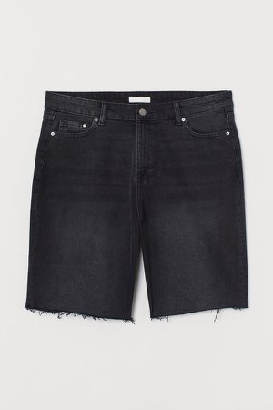 H&M+ Denim Shorts High Waist - Black