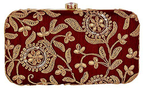 Tooba Handicraft Party Wear Hand Embroidered Box Clutch Bag Purse For Bridal, Casual, Party, Wedding (Indian Red): Amazon.in: Shoes & Handbags