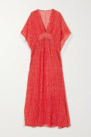Seychelles Printed Crepe De Chine Maxi Dress - Red