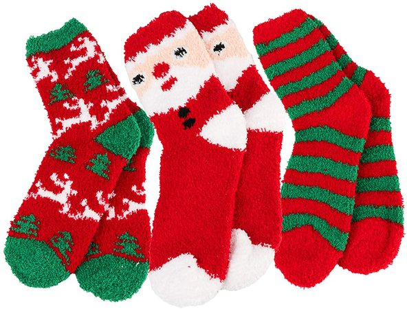 Women Christmas Fuzzy Fluffy Socks - Cozy Warm Slipper Bed Socks For Xmas Gift at Amazon Women's Clothing store