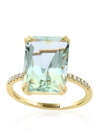 Effy® Green Amethyst with Diamond Shank Ring in 14k Yellow Gold