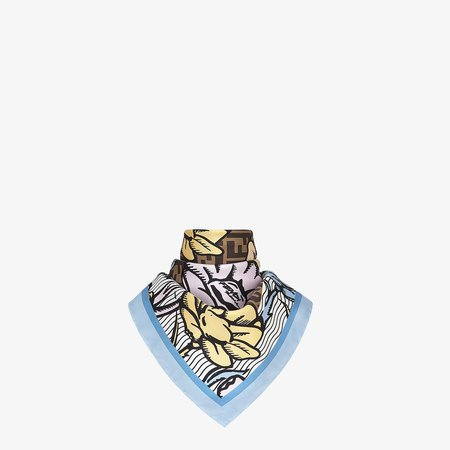 Fendi, FLOWERS FOULARD Multicolor silk foulard scarf