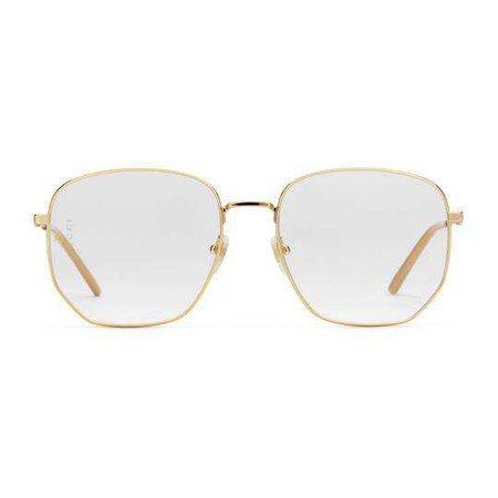 Rectangular-frame metal glasses - Gucci Men's Round & Oval 544381I33308005