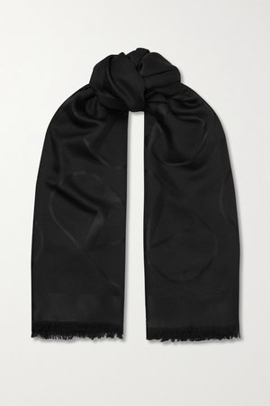 Black Valentino Garavani silk and wool-blend jacquard scarf | Valentino | NET-A-PORTER