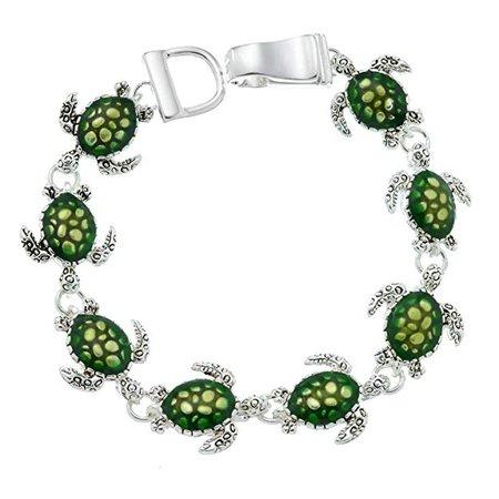 Amazon.com: PammyJ Green Sea Turtle Bracelet Silvertone Magnetic Clasp Bracelet: Link Bracelets: Jewelry
