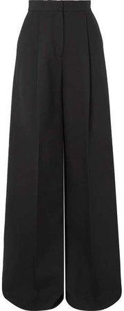 Pleated Crepe Wide-leg Pants - Black