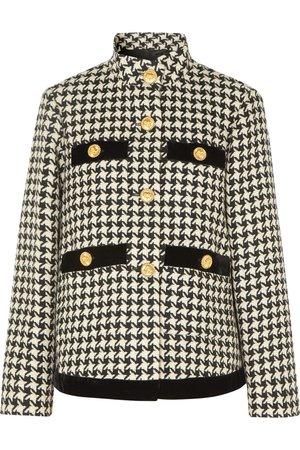 Gucci   Oversized velvet-trimmed houndstooth wool-blend jacket   NET-A-PORTER.COM