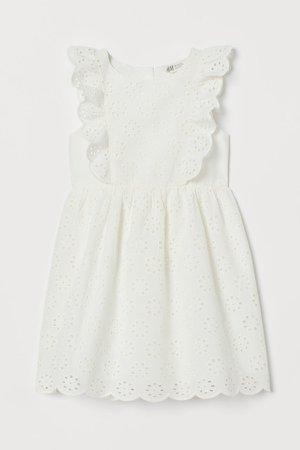 Eyelet Embroidered Dress - White