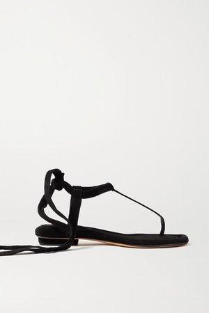Clarita Suede Sandals - Black