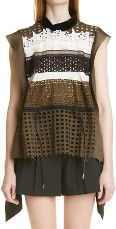 Embroidery Lace Sleeveless Top