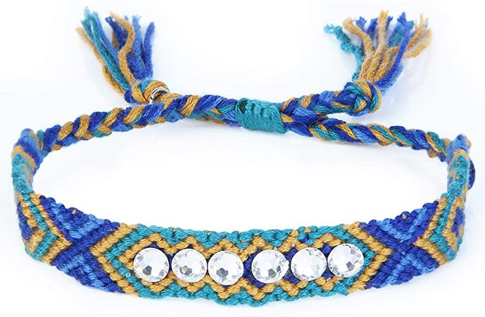 KELITCH Hand Braided Friendship Bracelets Bohemian Wide Wrap Bracelets Adjustable Bangle Jewelry (Dark Blue C): Jewelry