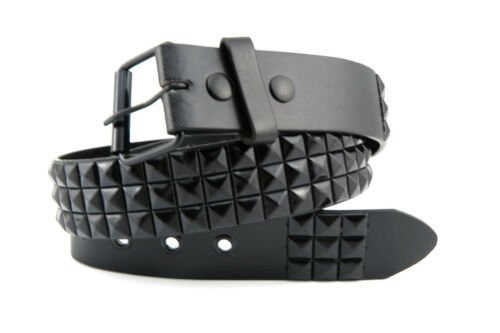 3-Row Black Metal Pyramid Studded Leather Belt Mens Womens Punk Rock Biker | eBay