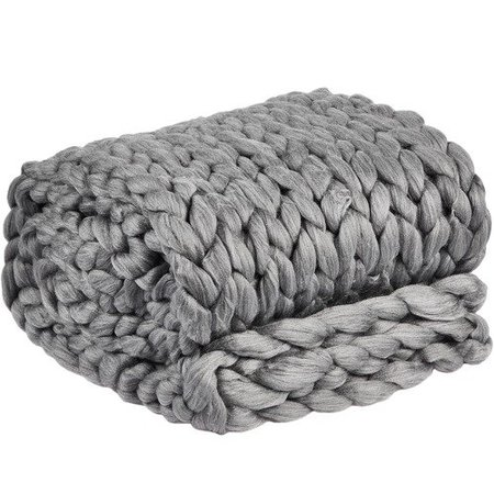 Home by Temple & Webster Storm Grey Chunky Knit Throw & Reviews