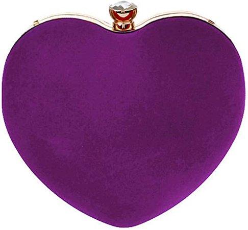 Buddy Mini Handbag Women Heart Shape Clutch Purse Velvet Shoulder Bag Evening Tote Chain Purse Purple: Handbags: Amazon.com