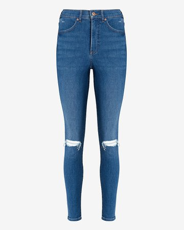 High Waisted Ripped Skinny Jeans | Express