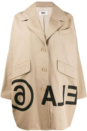 logo-print cocoon coat