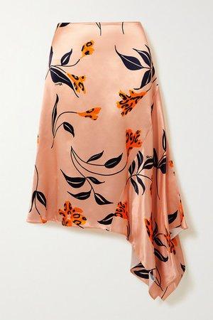 Asymmetric Floral-print Satin Skirt - Pastel pink